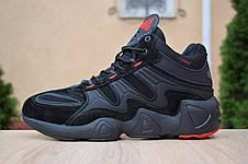 Кроссовки теплые мужские Adidas Equipment FYW S-97 на МЕХу, черные-красные (Top replic), фото 3
