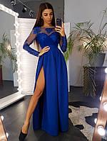 Синее вечернее платье макси с ажурным верхом