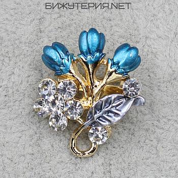 Брошь JB Цветочек, цветная эмаль металл золотого цвета декорирована стразами - 1055822784