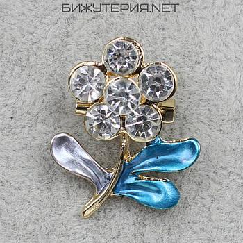 Брошь JB Цветок, эмаль бирюзового и серого цвета декорирована стразами - 1055830463