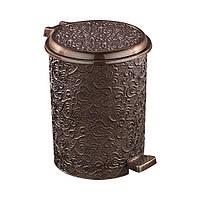 Ведро для мусора Ажур с педалью на 11 л темно-коричневое Elif plastik 325-5LF