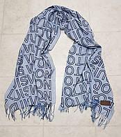 Женский шарф теплый реплика Louis Vuitton осень-зима байка утепленная размер 190×75 см цвет голубой, фото 1