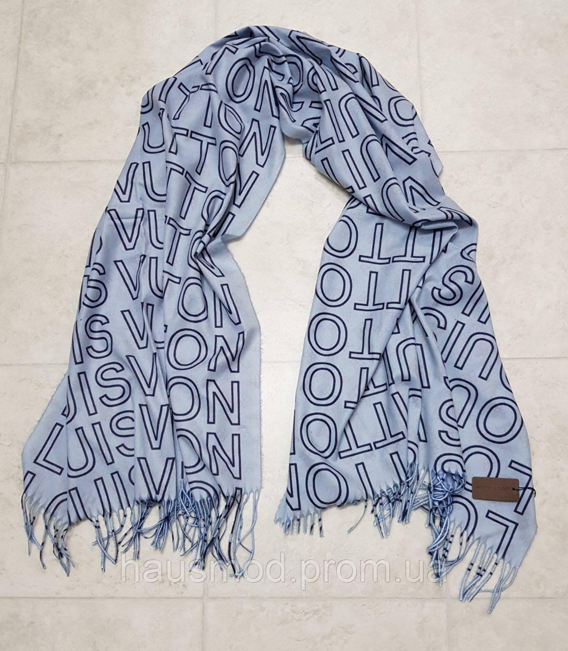 Женский шарф теплый реплика Louis Vuitton осень-зима байка утепленная размер 190×75 см цвет голубой