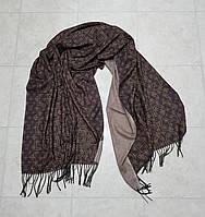 Женский шарф теплый реплика Louis Vuitton осень-зима байка утепленная размер 190×75 см цвет коричневый, фото 1