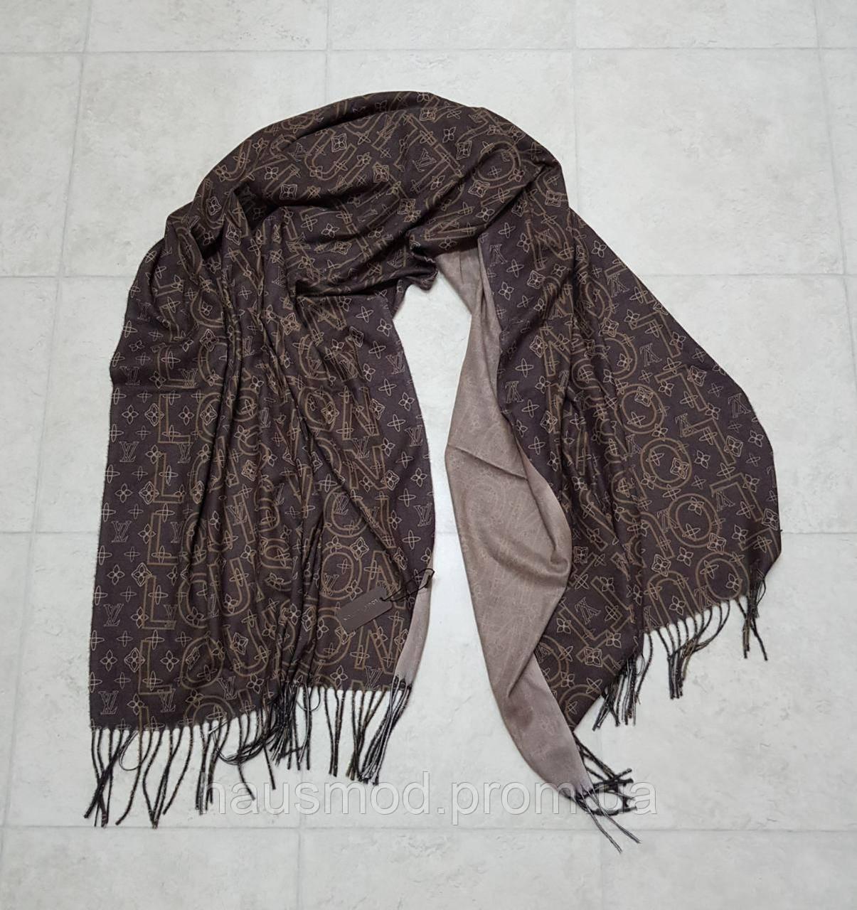 Женский шарф теплый реплика Louis Vuitton осень-зима байка утепленная размер 190×75 см цвет коричневый