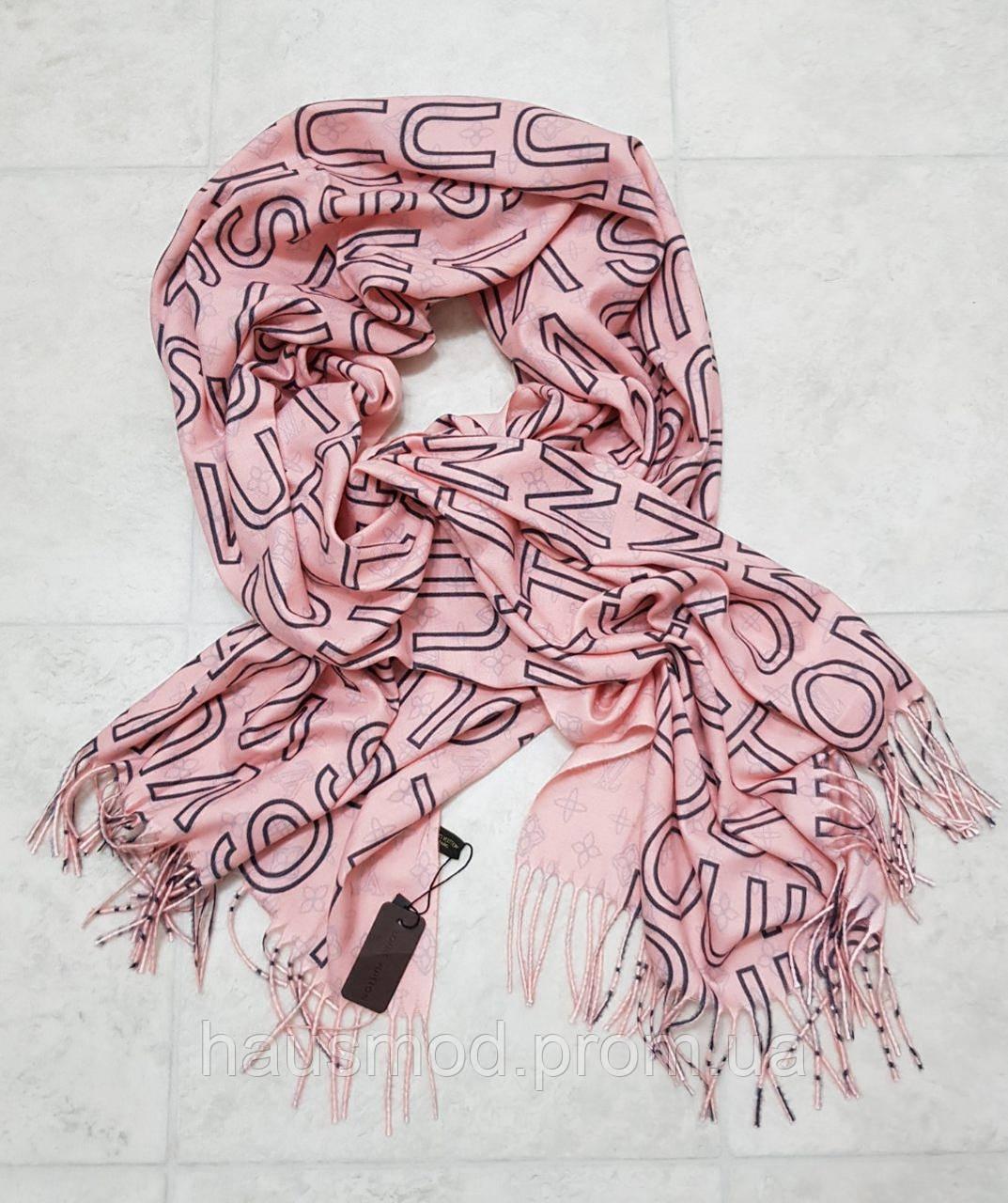 Женский шарф теплый реплика Louis Vuitton осень-зима байка утепленная размер 190×75 см цвет розовый