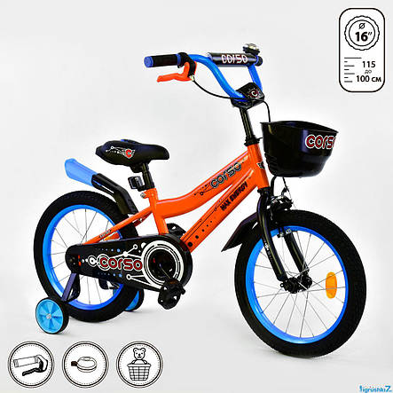 Велосипед 16 дюймов 2-х колёсный CORSO, фото 2