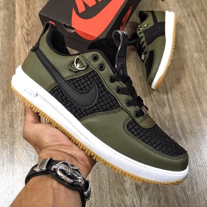 Кроссовки женские Nike Lunar Force низкие, зеленые-черные(Top replic)