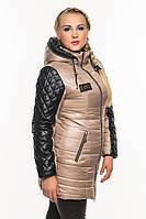 Женская зимняя куртка, кожаные рукава., фото 1