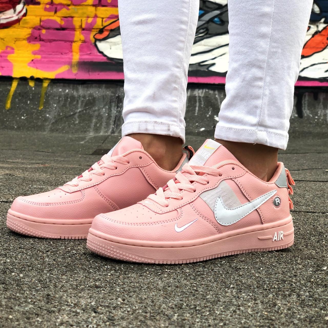 Кроссовки женские Nike Air Force розовые (Top replic)