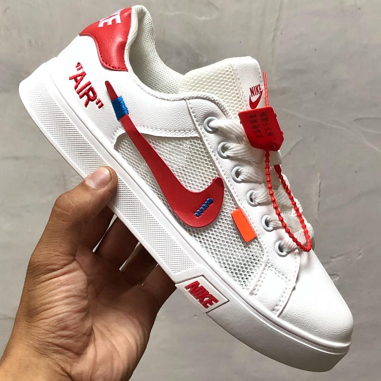 Кроссовки женские Nike Blazer Mid Off-White белые-красные (Top replic)