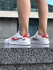 Кроссовки женские Nike Blazer Mid Off-White белые-красные (Top replic), фото 3