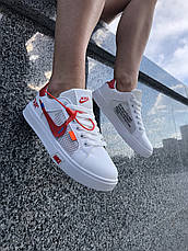 Кроссовки женские Nike Blazer Mid Off-White белые-красные (Top replic), фото 2