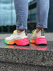 Кроссовки женские Versace белые-розовые (Top replic), фото 3