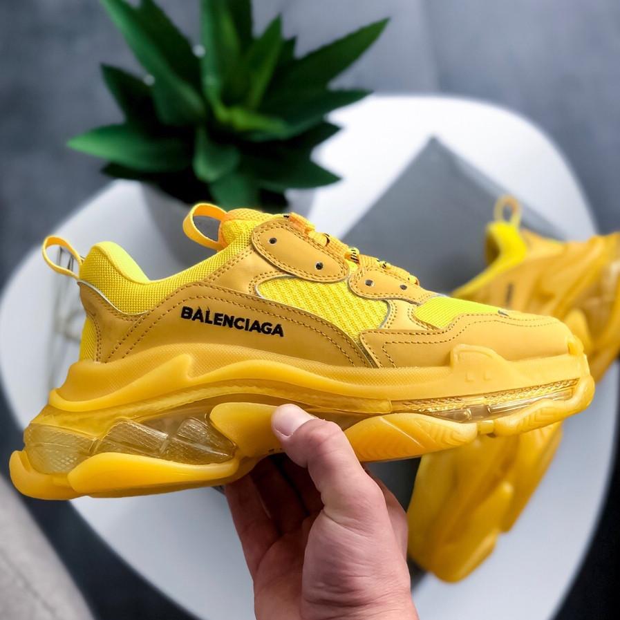 Кроссовки женские Balenciaga Triple-S Clear Sole Sneaker-желтые (Top replic)