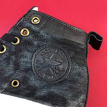Кроссовки\кеды женские Converse x Undefeated Denim высокие, черные-белые (Top replic), фото 2