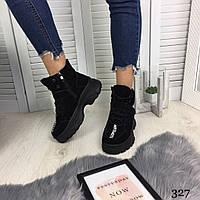 Зимние женские ботинки на шнуровке черные натуральный замша //В НАЛИЧИИ ТОЛЬКО 36р