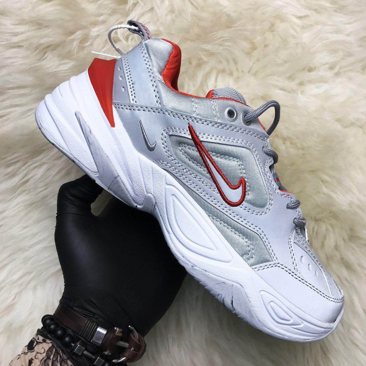 Кроссовки женские Nike M2K Tekno Рефлектив, серые (Top replic)