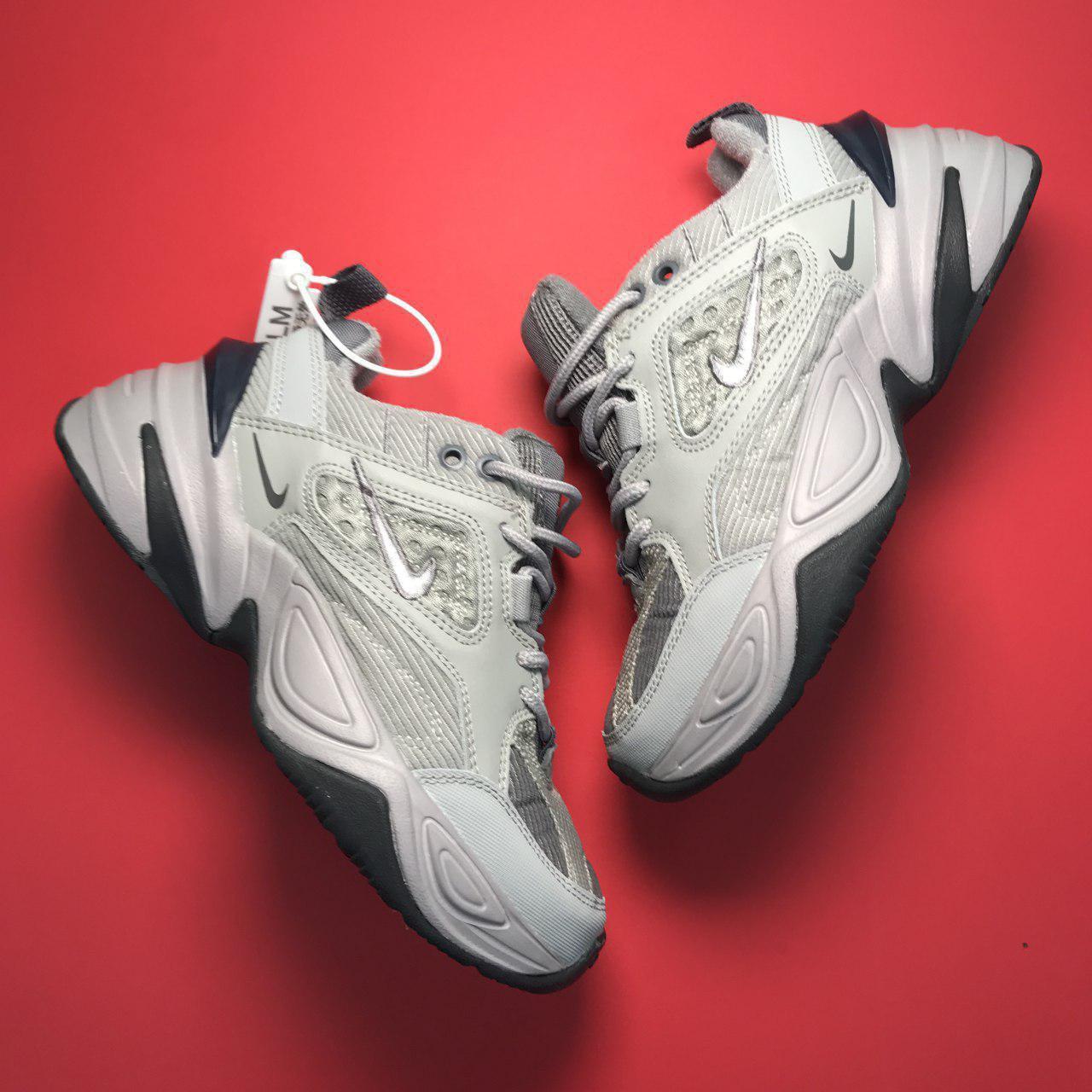 Кроссовки женские Nike M2K Tekno серые-белые (Top replic)