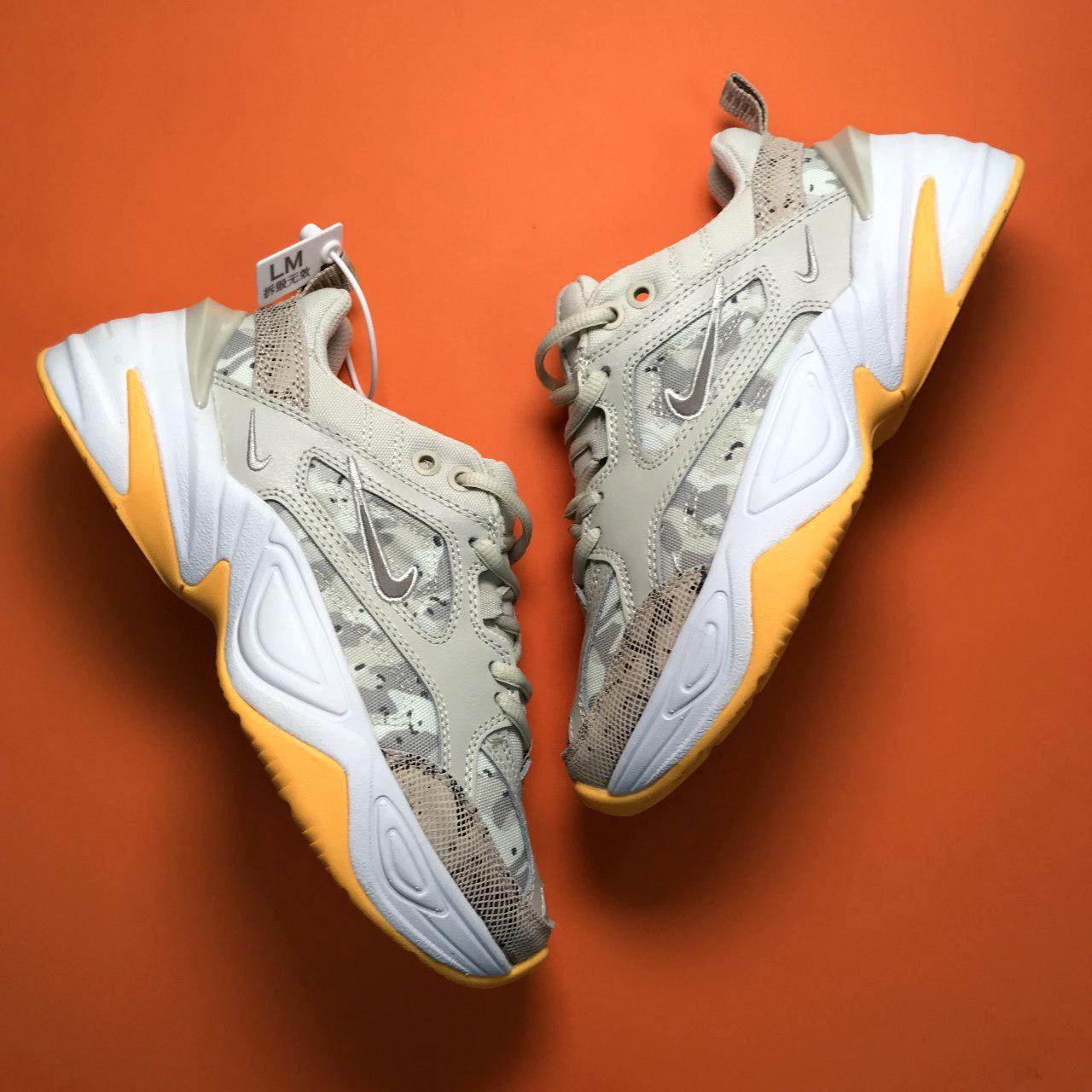 Кроссовки женские Nike M2K Tekno серые-оранжевые вставки (Top replic)
