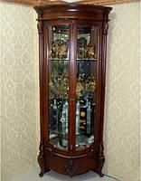Угловая витрина в цвете итальянский орех с овальными фасадами и гнутыми  резными ножками, Дели
