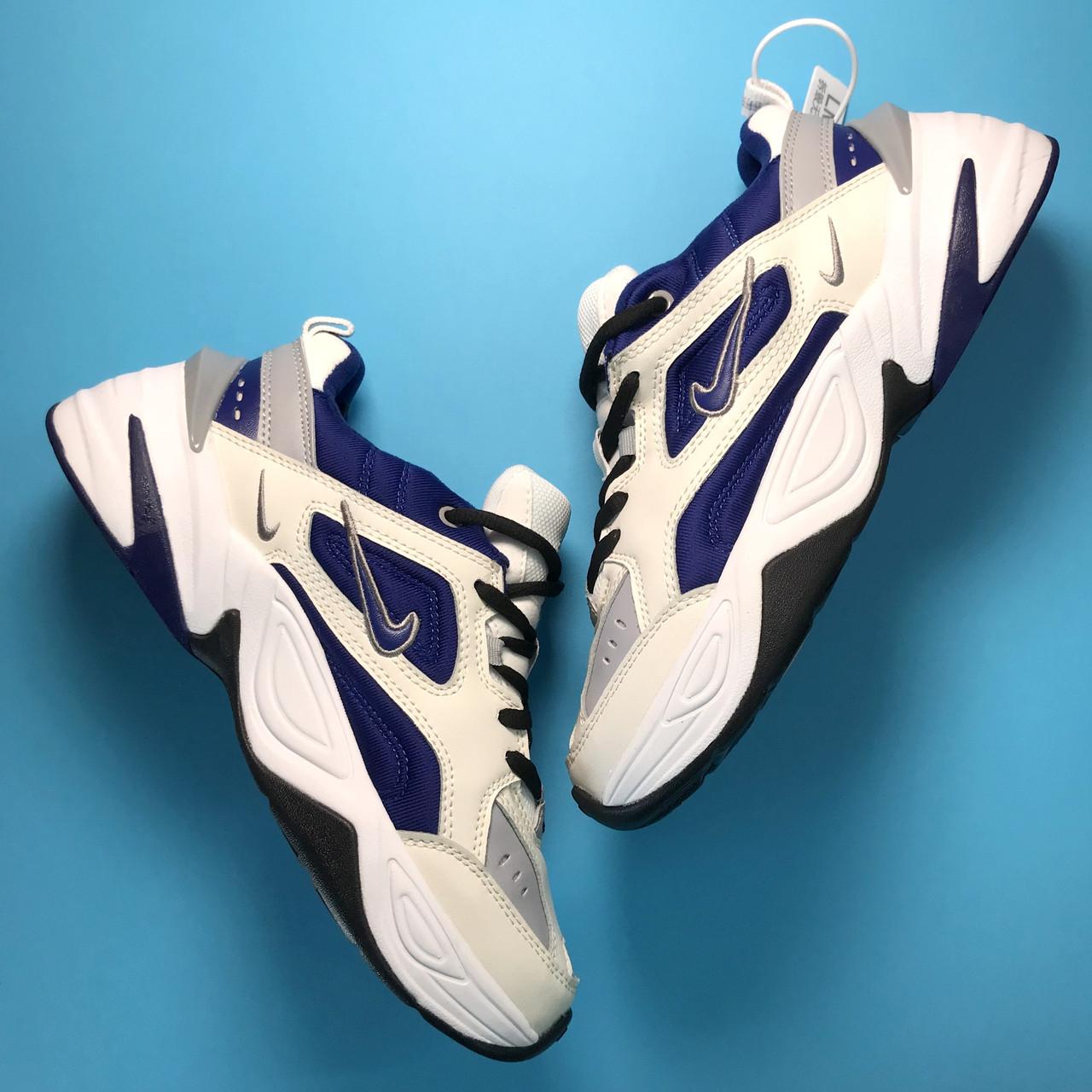 Кроссовки женские Nike M2K Tekno белые-синие (Top replic)