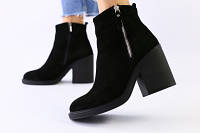 Зимние женские ботинки, замшевые, черные, на меху, с замочками, на небольшом устойчивом каблуке 39