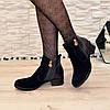 Ботинки синие женские   на каблуке, фото 5
