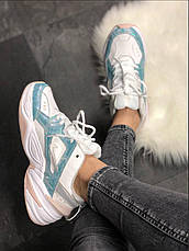 Кроссовки женские Nike M2K Teckno белые-синие (Top replic), фото 2