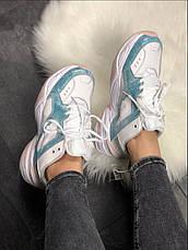 Кроссовки женские Nike M2K Teckno белые-синие (Top replic), фото 3