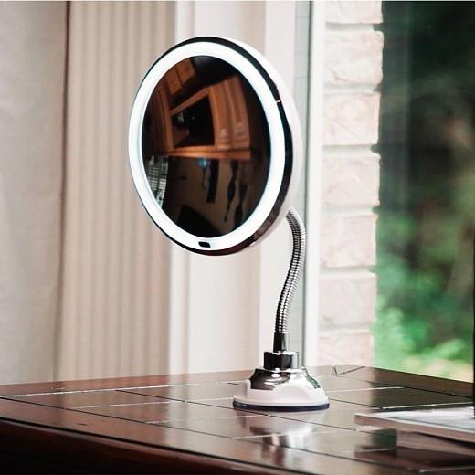 Косметическое зеркало на длиной ножке с присоской и подсветкой Led Увеличение 10х My Flexible Mirror, фото 1
