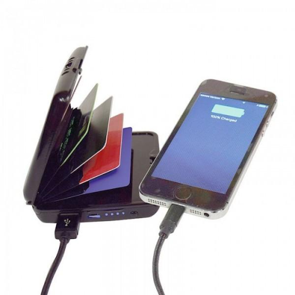 Кошелек-зарядка E-Charge Wallet power bank 3000 мАч Чёрный