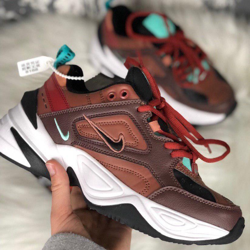 Кроссовки женские Nike M2K Tekno темно-коричневые (Top replic)