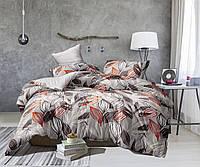 Полуторный комплект постельного белья серый из полиэстера «Листья осени»
