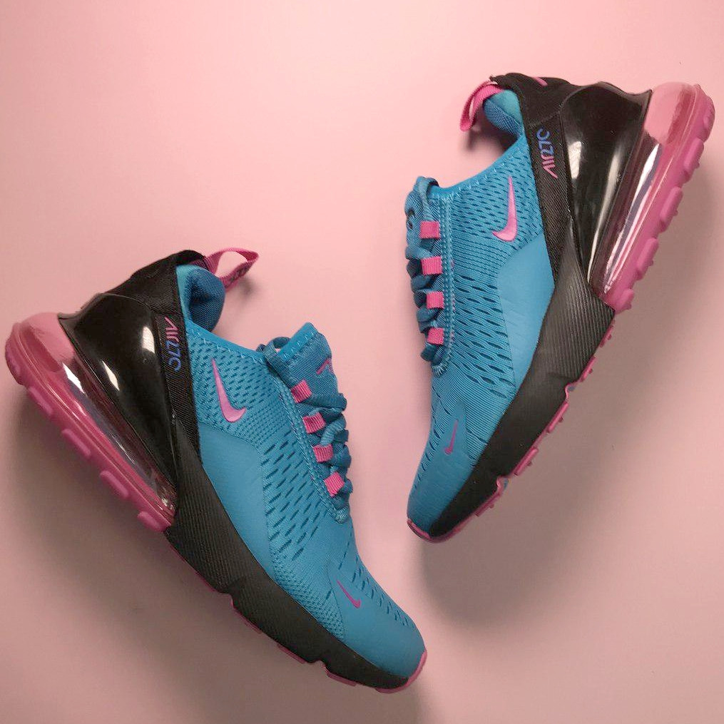 Кроссовки женские Nike Air Max 270 синие-розовые (Top replic)