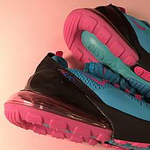 Кроссовки женские Nike Air Max 270 синие-розовые (Top replic), фото 3