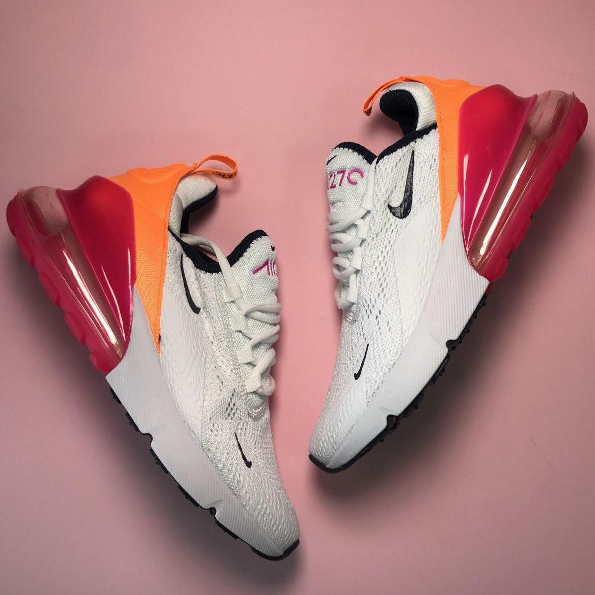 Кроссовки женские Nike Air Max 270 белые-красные-оранжевые (Top replic)