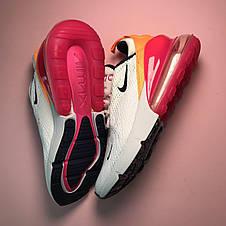 Кроссовки женские Nike Air Max 270 белые-красные-оранжевые (Top replic), фото 2