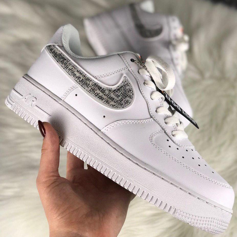 Кроссовки женские Nike Air Force 1 Just Do It белые (Top replic)