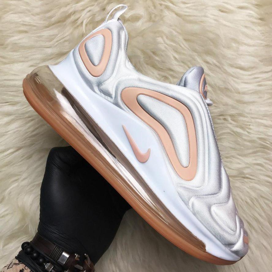 Кроссовки женские Nike Air Max 720 белые-оранжевые (Top replic)
