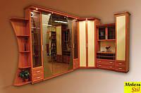 Стенка угловая для гостиной с подъемной шкаф-кроватью с зеркалами
