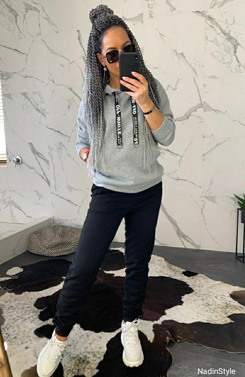 Женский утепленный костюм на флисе с худи 4405792