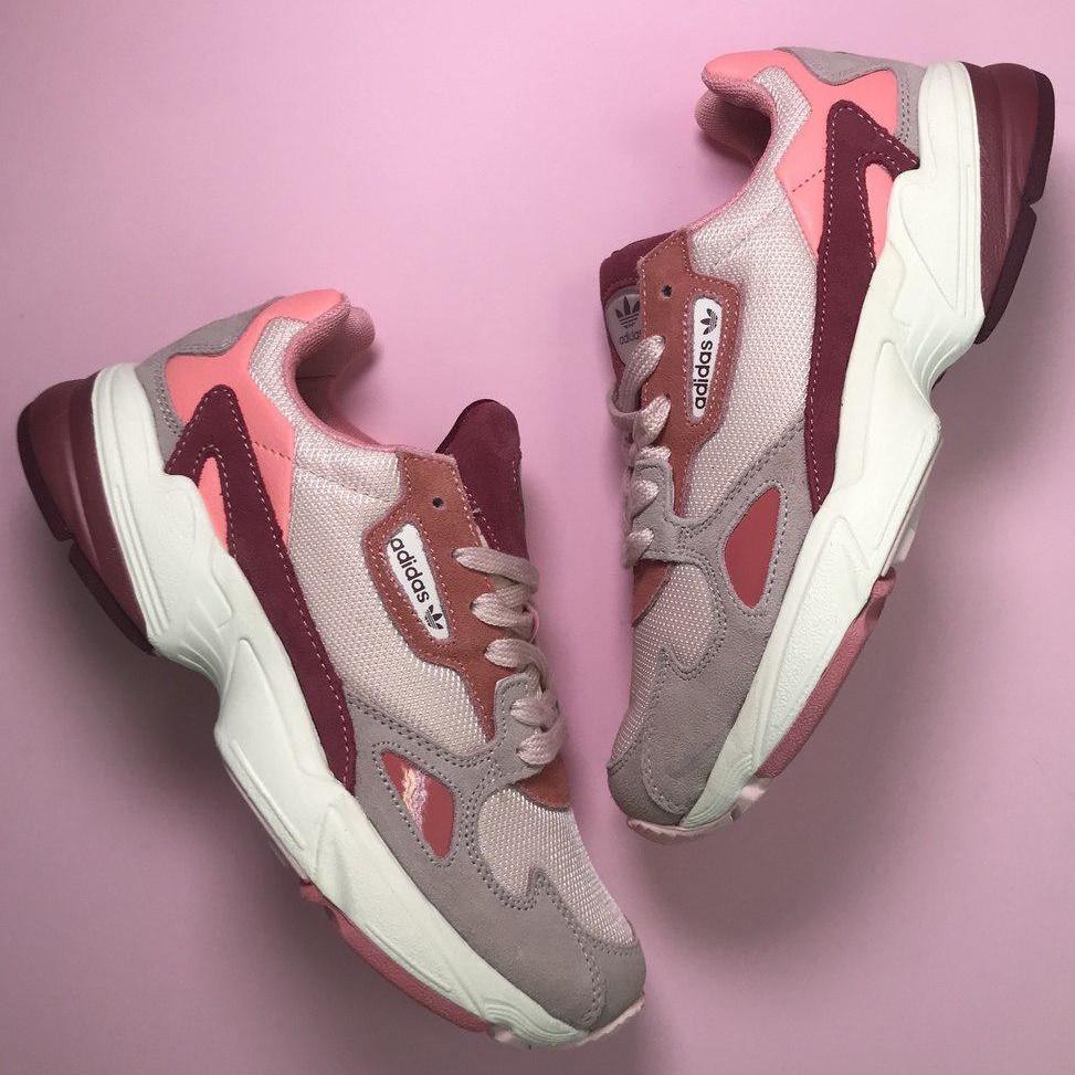Кроссовки женские Adidas Falcon серые-розовые-бордовые (Top replic)