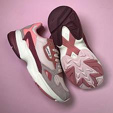 Кроссовки женские Adidas Falcon серые-розовые-бордовые (Top replic), фото 2