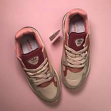 Кроссовки женские Adidas Falcon серые-розовые-бордовые (Top replic), фото 3