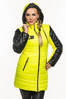 Зимняя женская куртка с кожаными рукавами., фото 1