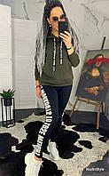Женский теплый свитшот на флисе с лампасами 4405793, фото 1