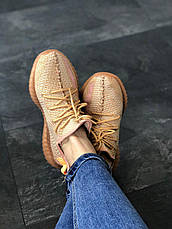 Кроссовки женские Adidas Yeezy Boost 350 V2 Clay бежевые (Top replic), фото 2