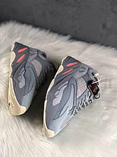 Кроссовки женские Adidas Yeezy 700 серые-синие (Top replic), фото 2