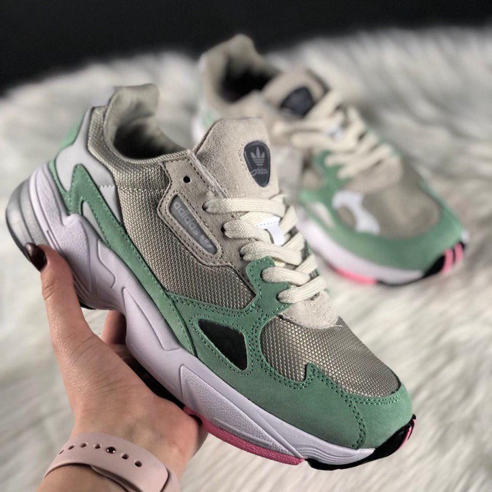 Кроссовки женские Adidas falcon серые-зеленые (Top replic)